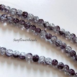 25 Crackle Perlen kristall und dunkelgrau, rund, Größe 8 mm zum Herstellen von Perlenschmuck    - Handarbeit kaufen
