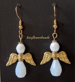 Ohrringe Engel mit Glasschliffperlen weiß gold und Edelstahlohrhaken