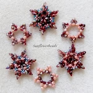Weihnachtsanhänger, Geschenkanhänger aus Glasperlen, Stern Schneeflocke rotbraun bunt, 6 Stück - Handarbeit kaufen