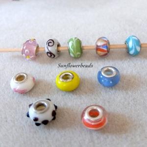 10 Großlochperlen, Modulperlen aus Glas, Farbenmix - Handarbeit kaufen