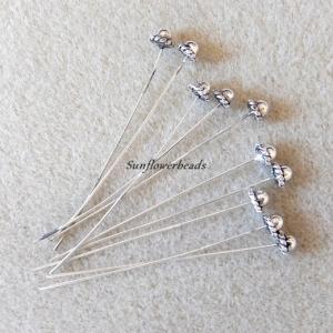 10 Nietstifte, Headpins silber mit verzierter Kappe - Handarbeit kaufen
