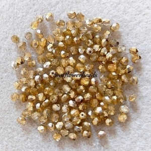 50 Stück böhmische Glasschliffperlen kristall halbgold 4 mm