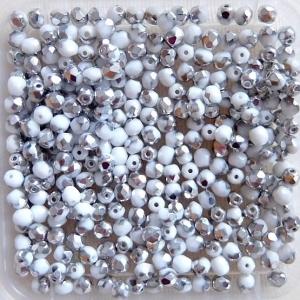 50 Stück böhmische Glasschliffperlen 4 mm, weiß opak halbsilber - Handarbeit kaufen