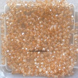 50 Stück böhmische Glasschliffperlen 3 mm, apricot lüster, champagner lüster - Handarbeit kaufen
