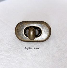 Ovaler Drehverschluss,Taschenverschluss bronze, Geldbörsenverschluss, 4-teilig  - Handarbeit kaufen