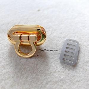 Drehverschluss, Kippverschluss gold, für Taschen und Geldbörsen, 4-teilig   - Handarbeit kaufen