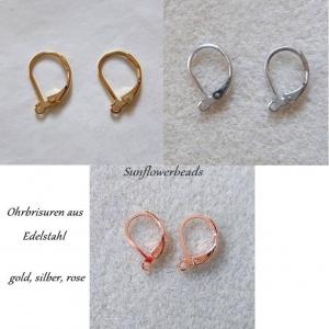 Ohrbrisuren aus Edelstahl - Mix aus silber, gold und rosé - zur eigenen Schmuckgestaltung - Handarbeit kaufen