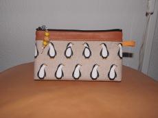 HAPPY PINGUIN Kosmetiktasche Baumwolle/Leder