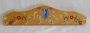 Schlüsselbrett/Hakenleiste/Handtuchhalter/Brett aus Holz mit 6 Haken, handbemalt im Bauernmalerei- und Landhaus-Stil -Deutsche Handarbeit-    - Handarbeit kaufen