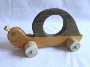 Handgefertigte Spielzeug-Schnecke aus Holz für Kinder, zum Nachziehen und Schieben -Deutsche Handarbeit-  - Handarbeit kaufen