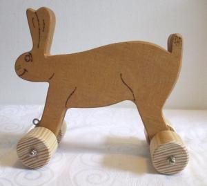 Spielzeug-Hase aus Holz zum Nachziehen und Schieben -Deutsche Handarbeit-