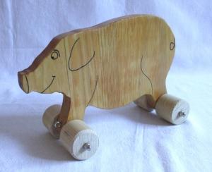 Handgefertigtes Spielzeug-Schweinchen aus Holz für Kinder, zum Nachziehen und Schieben -Deutsche Handarbeit-     - Handarbeit kaufen