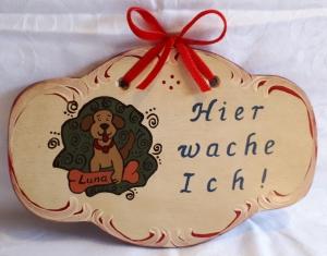 Hunde-Warnschild/Türschild/Wandschild aus Holz, mit Wunschbeschriftung, handbemalt im Bauernmalerei- und Landhaus-Stil -Deutsche Handarbeit-   ***Versandkostenfrei***     - Handarbeit kaufen