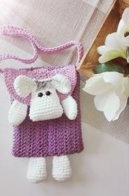 Gehäkelte Umhängetasche für kleine Damen im Schafsdesign