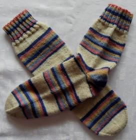 handgestrickte Socken Gr. 38/39 weiß/bunt gestreift