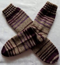 handgestrickte Socken Gr. 36-37 in grau/lila gestreift - Handarbeit kaufen