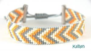 handgewebtes Armband mit Zackenmuster in Gelb, Grau und Creme  - Handarbeit kaufen