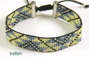 handgewebtes Armband mit Ethnomuster in Blau, Gelb, Schwarz und Creme  (Kopie id: 100184327) - Handarbeit kaufen