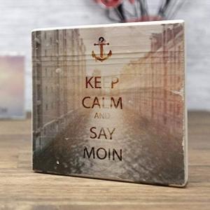elbPLANKE - Keep Calm and Say Moin - Speicherstadt | 10x10 cm | Holzbilder von Fotoart-Hamburg