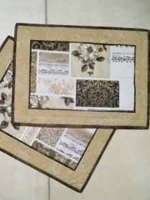 Tischset aus Batik- und Baumwollstoffen -  von Hand gequiltet