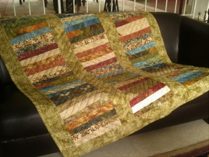 Quiltdecke  aus Batikstoffen -  handgequiltet -  Einzelstück