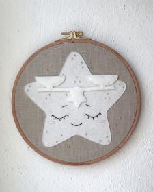 Waage Sternzeichen ★ Stickrahmen ★ Zodiac ★ Geschenk zur Geburt ★ Kinderzimmer ★ Wanddeko ★ Plastikfrei