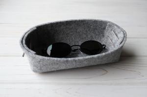 Filzkörbchen handgemacht, schön und praktisch als Brillenaufbewahrung - Brillenablage für sie und ihn -  - Handarbeit kaufen