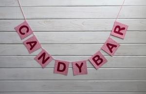 Hochzeits-Girlande Candybar Girlande für Hochzeit Deko in rosa - rot - bordeaux - Handarbeit kaufen