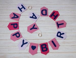 Girlande Geburtstagsgirlande Wimpelkette Geburtstag Happy Birthday Girlande - Handarbeit kaufen