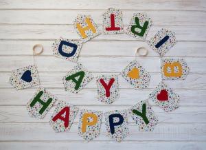 Tolles Geburtstagsgeschenk Girlande mit Happy Birthday für Frauen und Männer Wimpelkette - Handarbeit kaufen