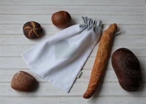 ♡ Brotbeutel aus Vintage-Stoff ohne Chemie zum Einkaufen von Brot und Brötchen mit einem ♡ für die Umwelt - Handarbeit kaufen