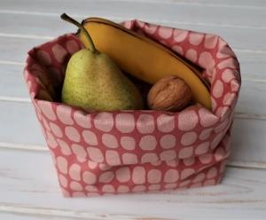 Kleine Lunchbag aus beschichteter Baumwolle in skandinavischem Design Brotzeittasche Frühstücksbeutel Wachstuch - Handarbeit kaufen