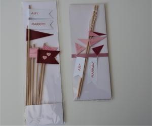 Tortengirlande + Tortentopper Hochzeitsdeko Kuchenbuffet Farbschema rosa  rot  dunkelrot bordeaux - Handarbeit kaufen