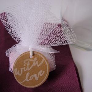Woodies Stempel Holzstempel rund mit dem Schriftzug: With love , toller Stempel für Hochzeit und Tischdeko - Handarbeit kaufen