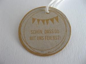 Woodies Stempel zur Hochzeit, Taufe, runder Geburtstag mit Schriftzug: Schön, dass du mit uns feierst! - Handarbeit kaufen