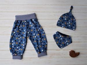 Babyhose Pumphose mit Halstuch und Knotenmütze - Babygeschenk Gr. 62 / 68 - Geschenkset für Neugeborenes  - Handarbeit kaufen