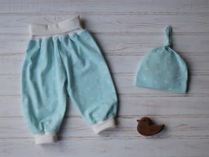 Babyhose Pumphose Gr. 62 / 68  mit Babymütze - Geschenkset für Neugeborenes - Babygeschenk  - Handarbeit kaufen