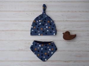 Babymütze und Dreieckstuch - ein hübsches Geschenk für Neugeborene - Gr. 62/68 - Baby Geschenkset - Handarbeit kaufen