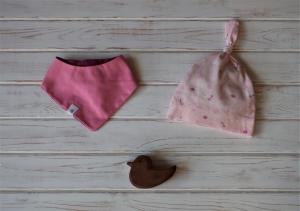 Babymütze und Halstuch - ein hübsches Geschenk für Neugeborene - Gr. 62/68 - Baby Geschenkset - Geschenk zur Babyparty - Handarbeit kaufen