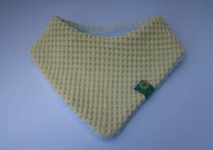 Babyhalstuch Dreieckstuch für ein Baby - Wendehalstuch aus Waffelpique und Jersey - vanille gelb und weiß