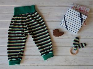 Babyset Hose und Spielzeug - Mitwachshose Pumphose Gr. 80 - mit Streifen - Nickyplüsch aus Baumwolle - fast nostalgisch - Handarbeit kaufen