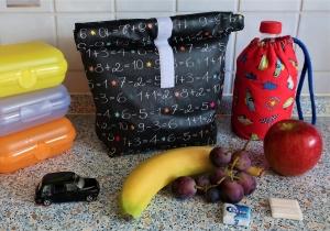 Lunchbag Brotbeutel aus Wachstuch - ein toller Begleiter für den Schulalltag und du sparst viele Plastiktüten... - Handarbeit kaufen