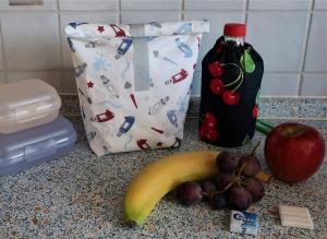 Lunchbag Brotbeutel aus Wachstuch - ein toller Begleiter für den Schulalltag und du sparst viele Plastiktüten... (Kopie id: 100244456) - Handarbeit kaufen