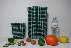 Kleine Lunchbag aus beschichteter Baumwolle skandinavisch Brotzeittasche Frühstücksbeutel Wachstuch mint grün petrol - Handarbeit kaufen