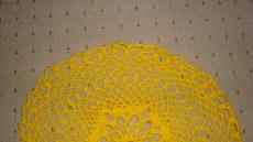 Tischdecke Decke gehäkelt gelb