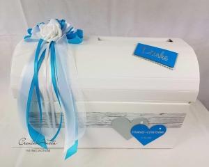 Briefbox Truhe TÜRKIS HOLZ Geschenkbox Erinnerung