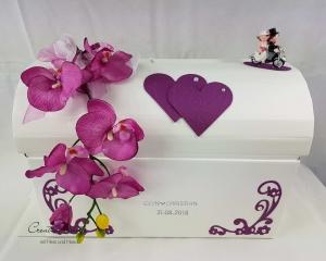 Briefbox Hochzeit Truhe BIKER Orchidee BEERE