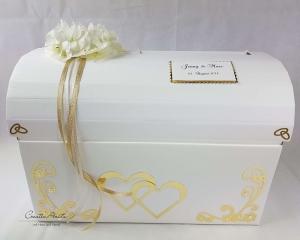 Briefbox Truhe HORTENSIE GOLD Hochzeit Geschenkbox