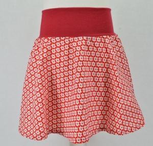 Rock, Tellerrock, Mädchenrock, Größe 98/104, Motiv Blümschen, weiß, rot
