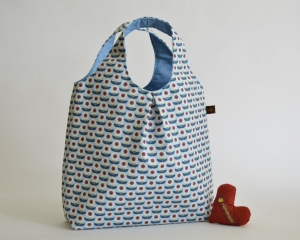 Handtasche, Tasche, Baumwolltasche, Motiv Blumen, blau - Handarbeit kaufen